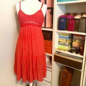 Dresses & Skirts - 🧶 Crocheted Detail Dress in Salmon Tangerine Pink